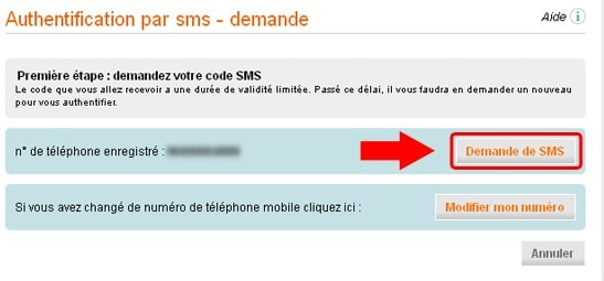 confirmation en registrement par sms